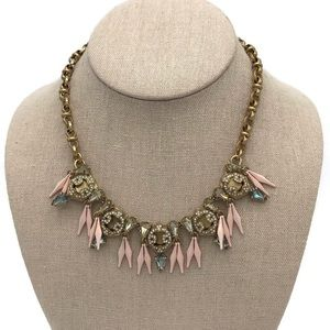 J Crew Spikes Crystal Gold Statement Necklace
